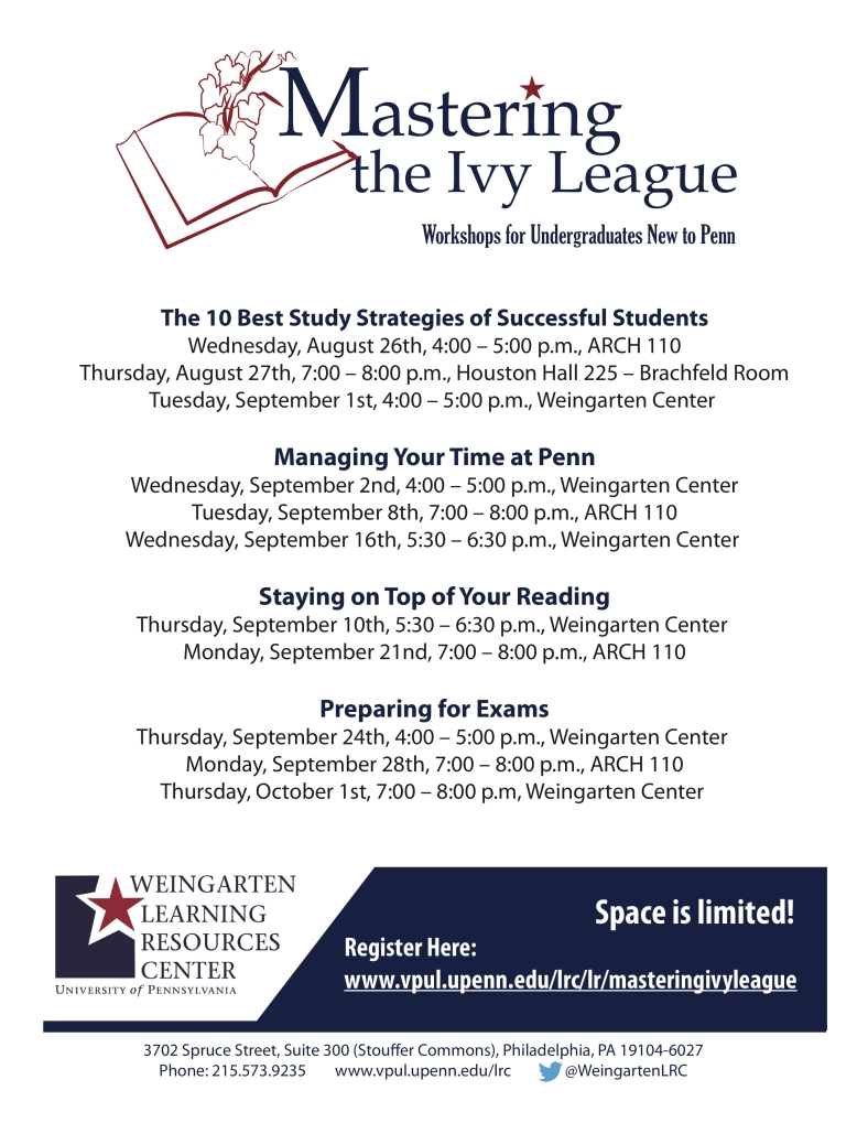 Mastering the Ivy League Flyer - Fall 2015